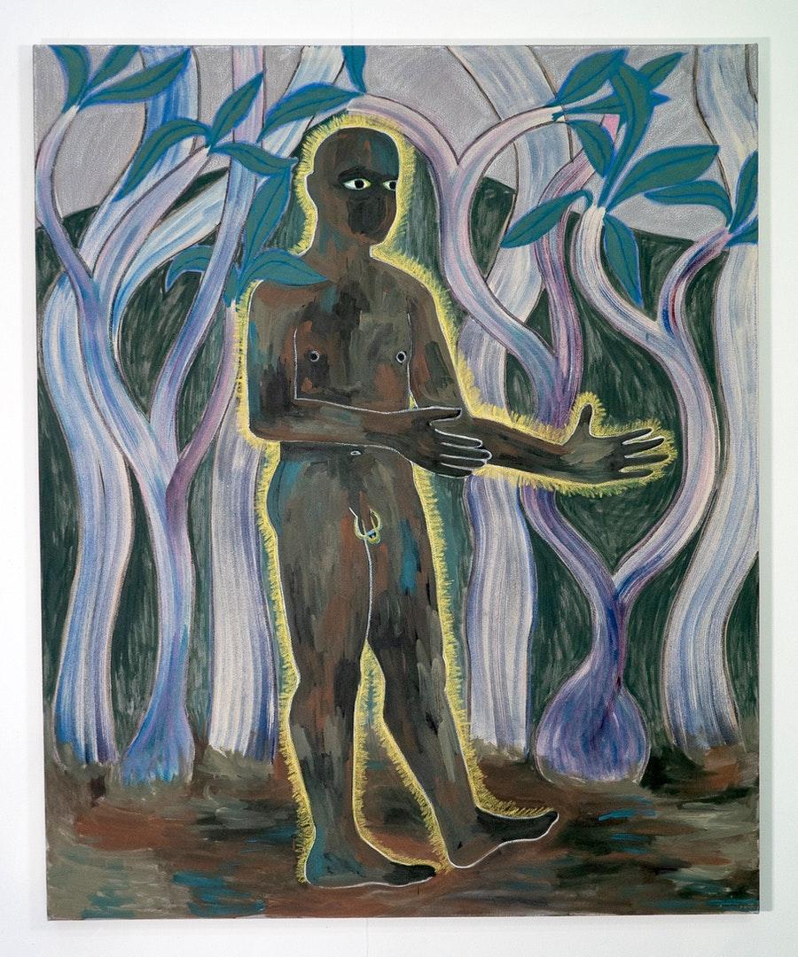 'A Place To Hide', Kemi Onabule, Oil, acrylic, oil pastel on canvas, 146 x 116 cm