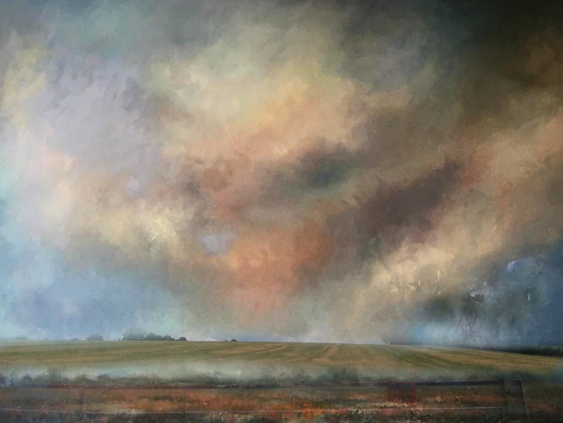'Dramatic Sky, Barkby', Kendrick Snodin, Mixed media, watercolour gouache, 37 x 28 cm