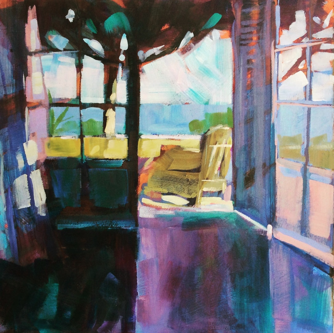 'Room with a view', Kerry Doyland, Acrylic on board, 40 x 40 cm