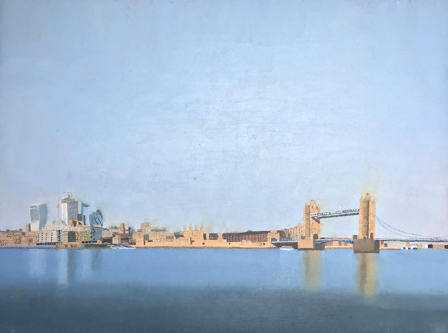 'View from Queens Walk', Kieran Luke Naish, Oil, 57 x 72 cm