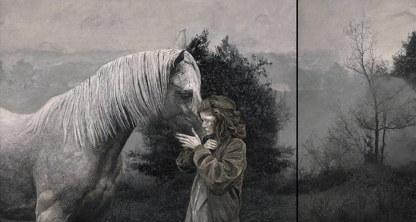 'Sacred Spring', Kristina Schwarzwald, Oil on wood, 26 x 48.5 cm