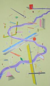 'No Pause', Lara Balcerzak, Oil and crayon on canvas, 180 x 92 cm