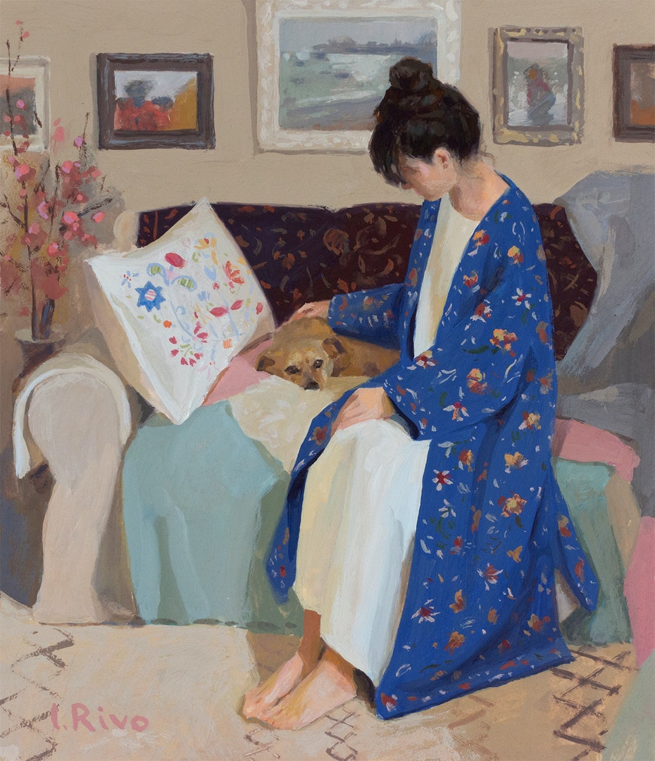 'My dear friend', Lena Rivo, Gouache, 17 x 19 cm