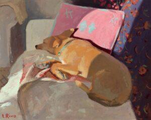 'Sleeping Sasha', Lena Rivo, Gouache, 16 x 20 cm