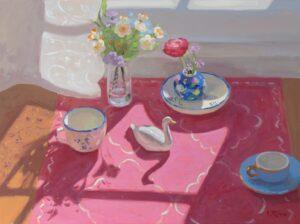 'Still life with a porcelain swan', Lena Rivo, Gouache, 28 x 38 cm