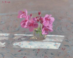 'Wild geranium in sunlight', Lena Rivo, Gouache, 16 x 20 cm