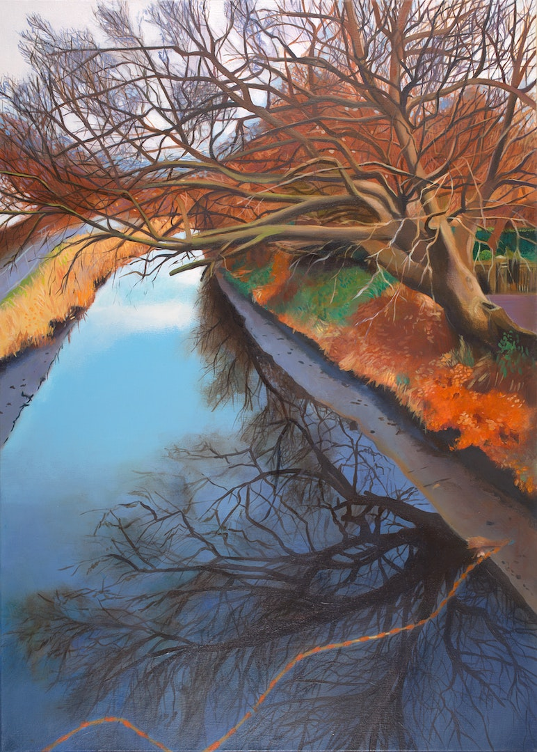 'The day they drained the canal at Linlithgow', Lesley Banks, Oil on deep edge linen, 70 x 50 cm
