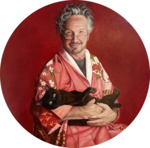 'Dancer in Kimono with Cat', Liana Vargas, Oil on wood, 60 x 60 cm