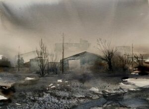 'Edgelands', Lois Davidson, Watercolour and pencil on paper, 28 x 38 cm