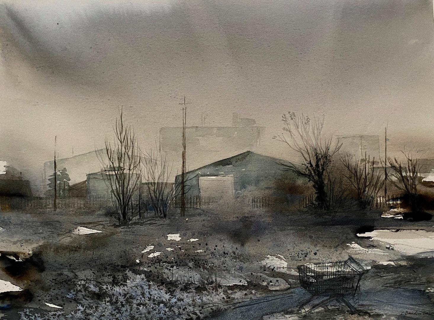 'Edgelands', Lois Davidson, Watercolour and pencil on paper, 28 x 38 cm