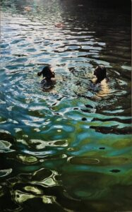 'Liz and Emma, Hampstead Ponds', Lucille Dweck, Oil on linen, 210 x 130 cm