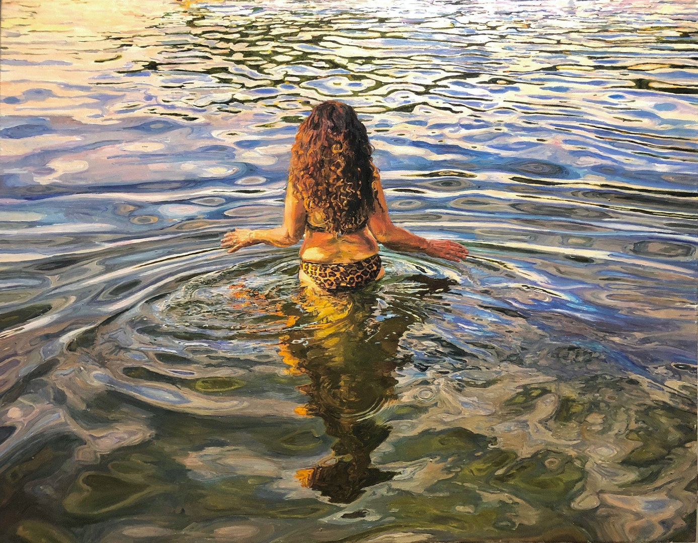'To Wander in the Water', Lucille Dweck, Oil on canvas, 94 x 119 cm
