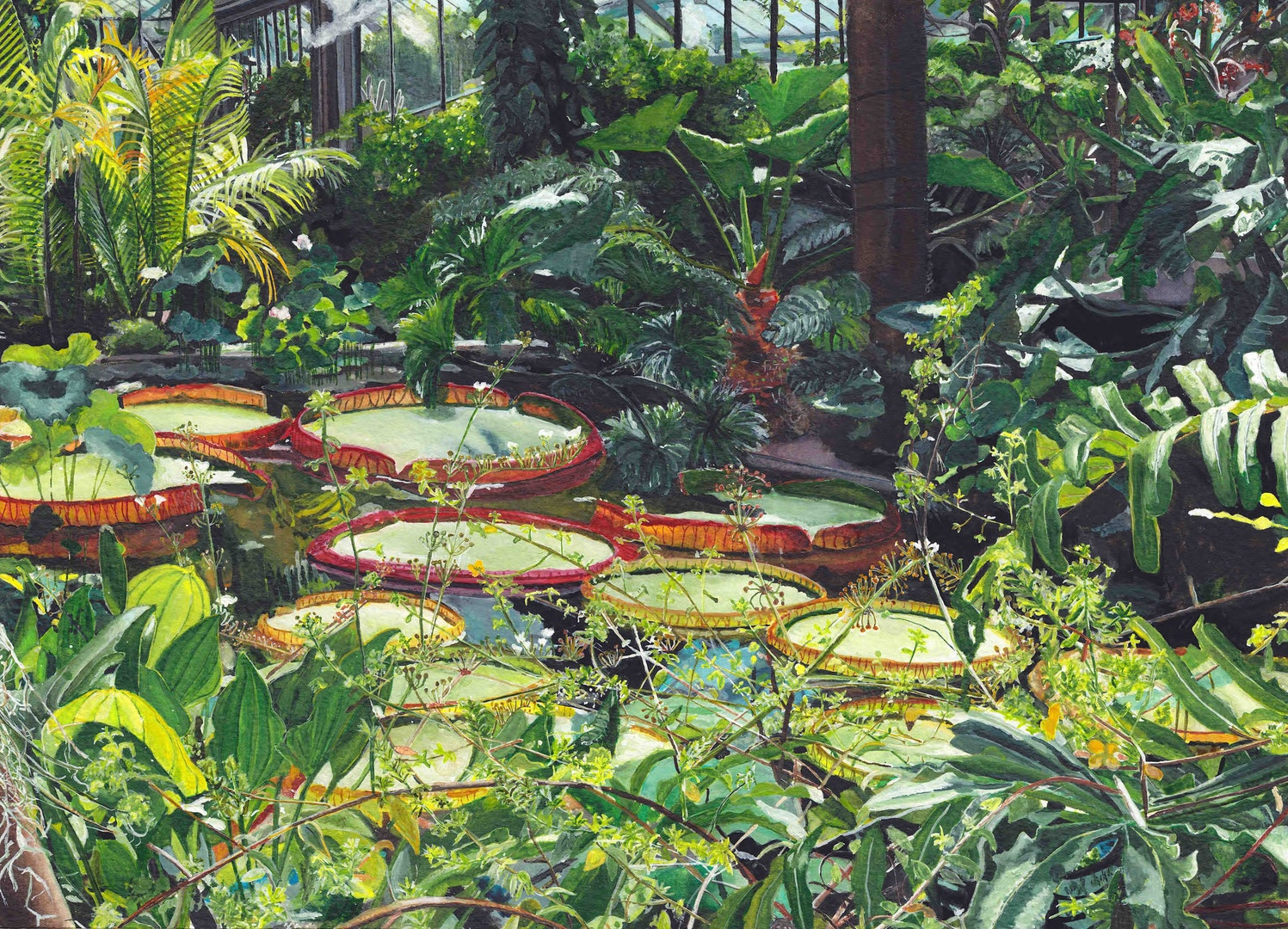 'Kew's Princess of Wales Conservatory', Lucy Cariou, Watercolour on paper, 25 x 34 cm