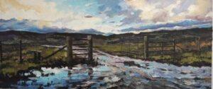 'Icy Tracks', Lynn Ward, Acrylic on canvas board, 73 x 31 cm