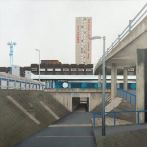 Shopping City', Mandy Payne, Spray paint, acrylic, oil, graphite, marker pen on glass fibre reinforced concrete panel, 49.5 x 49.5 x 1.5 cm