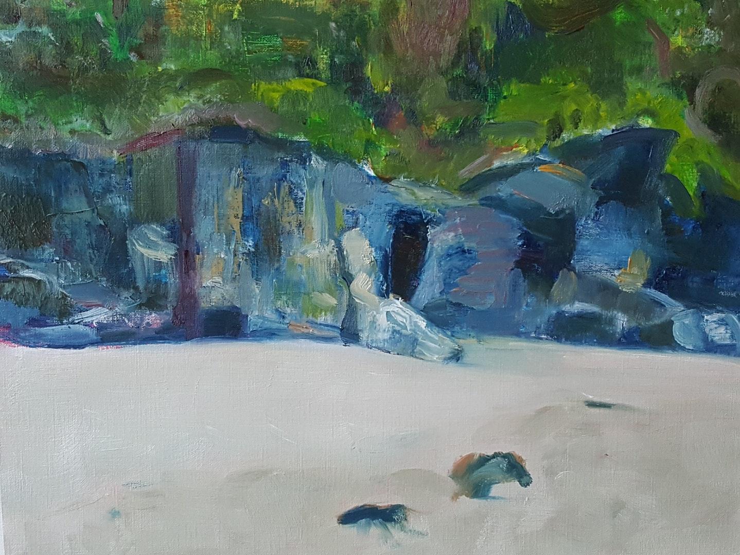 'Beach at Carbis Bay', Margo Random, Oil on paper, 30 x 39 cm