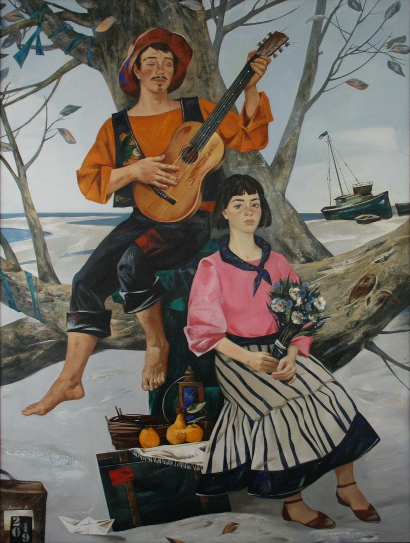 'To the music of the sea', Maria Likhaja, Oil on canvas, 200 x 150 cm