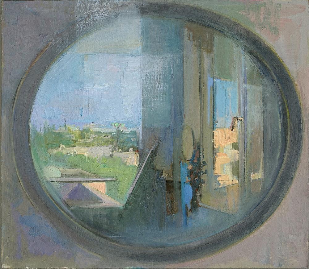 'Corona time landscape', Marina Levitan, Oil in wood, 45 x 40 cm