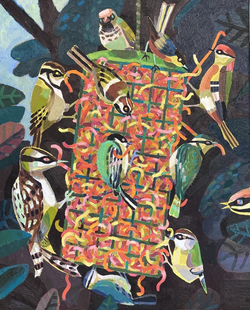 'Feeders', Mark McConnell, Oil on canvas, 56 x 46 cm