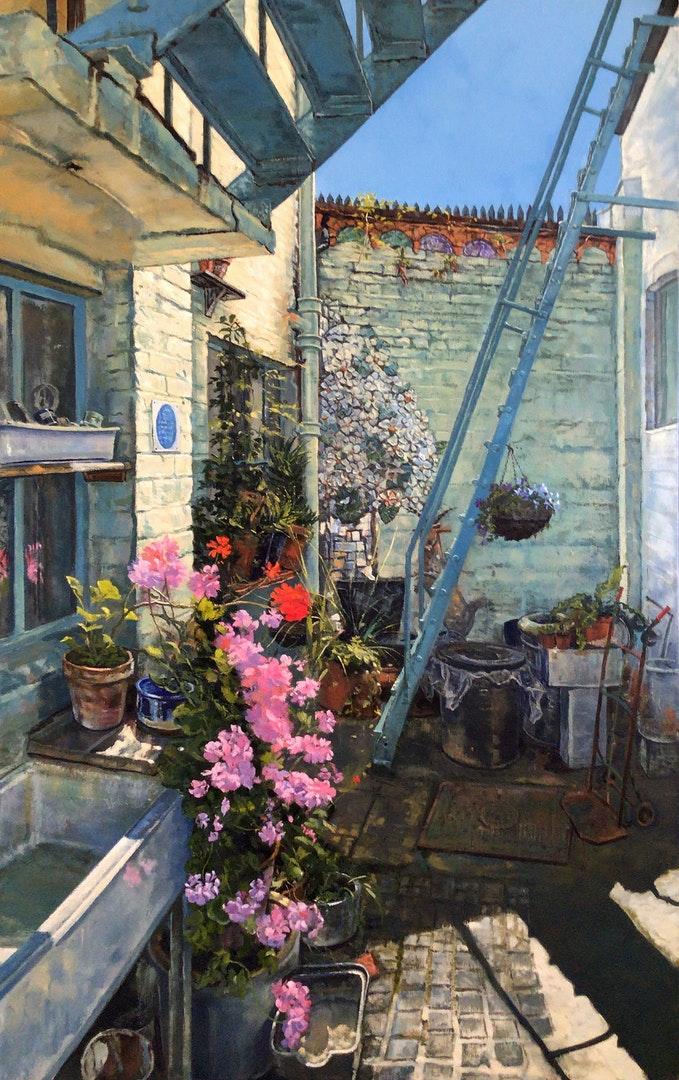 'Morning light, Clockwork Courtyard.', Mark McLaughlin, Oil on canvas, 102 x 61 cm