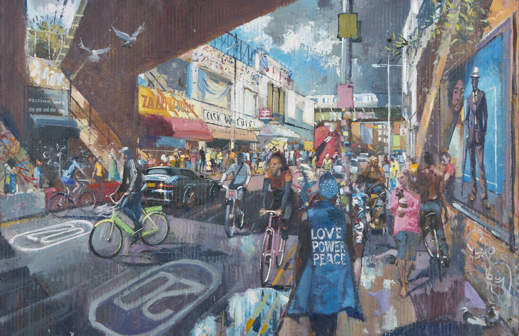 Love Power Peace', Mark Pearson, Oil on resin-treated cardboard, 64 x 94 cm