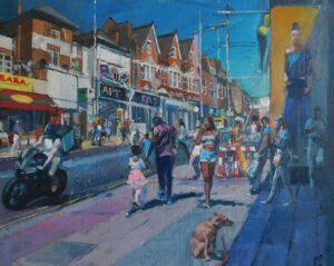 'Waiting Dog Primark', Mark Pearson, Oil on canvas, 44 x 54 cm