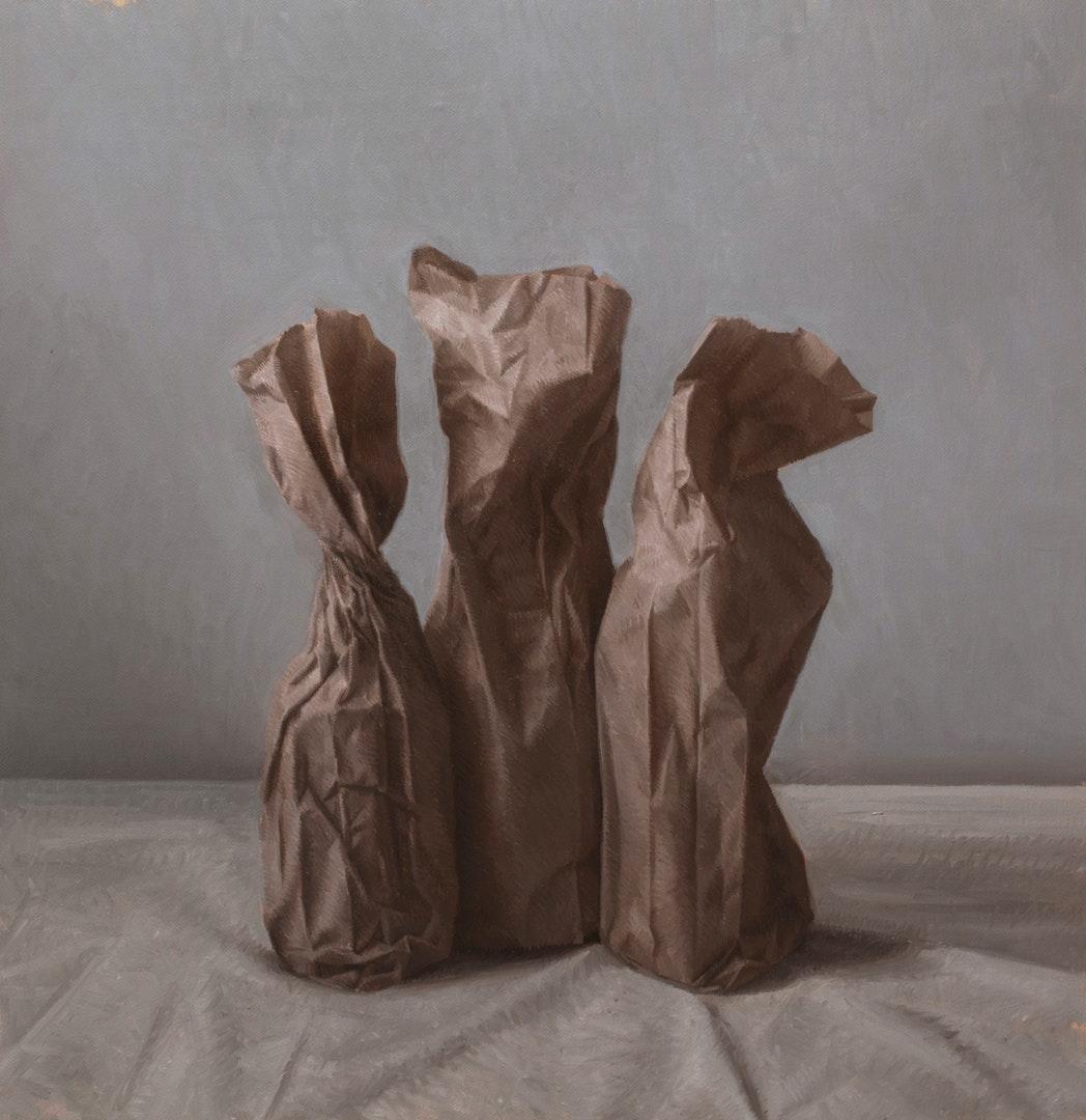 'Three things', Martin Redmond, Oil on linen, 35 x 35 cm