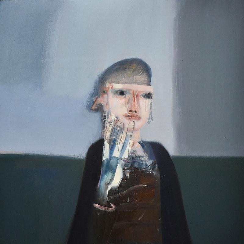 'Leaving', Matt Hardman, Oil & spray paint on board, 61 x 61 cm