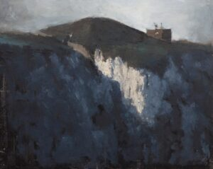 'Cliffside Bunker', Max White, Oil on panel, 20.32 x 25.4 cm