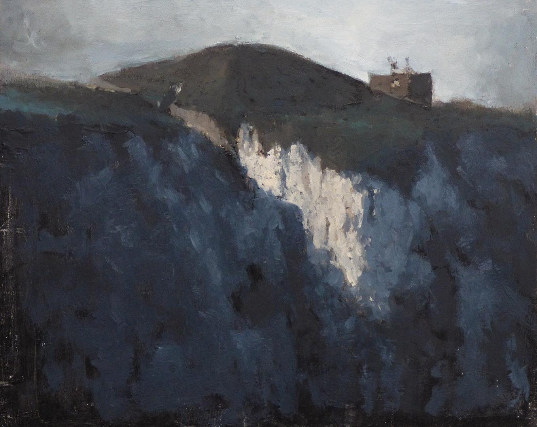 'Cliffside Bunker', Max White, Oil on panel, 20.32 x 25.4 cm