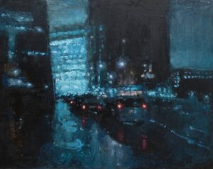 'Tate Modern Downpour', Max White, Oil on panel, 40.64 x 50.8 cm