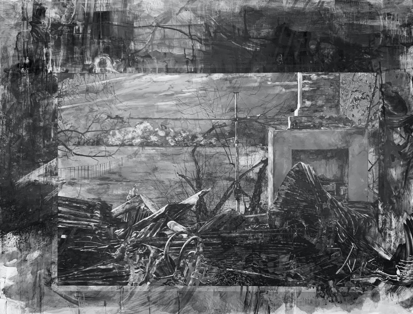 'Cudgewa', Melody Spangaro, Water soluble graphite on plastic, 136 x 175 cm