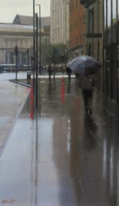 'Walking Towards the Library, Manchester', Michael Ashcroft, Oil, 43 x 25 cm