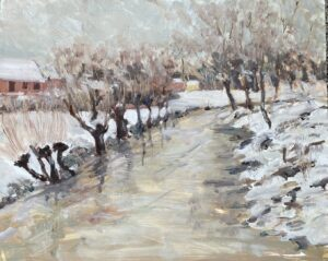'Shelley Floods. Snow', Michael Crowe, Oil on panel, 40 x 50 cm