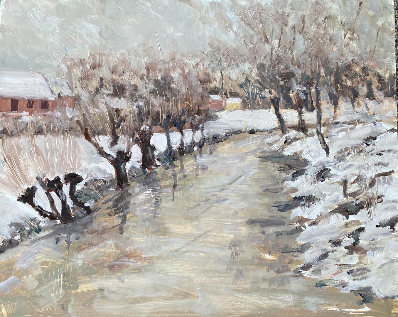 'Shelley Floods. Snow', Michael Crowe, Oil on panel, 40 x 50 cm