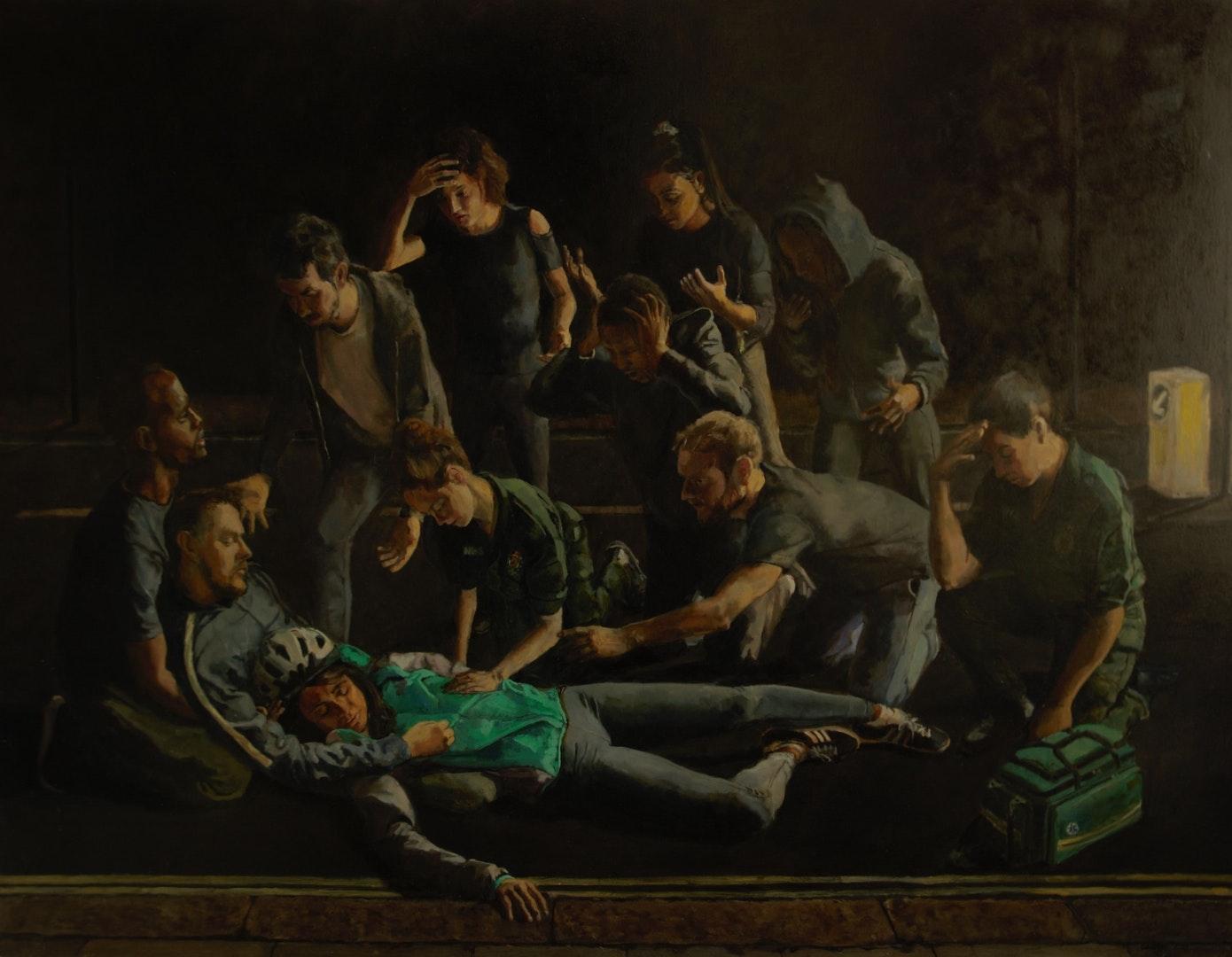 'The Death Of A Courier', Nicholas Baldion, Oil on gesso board, 78.5 x 103 cm