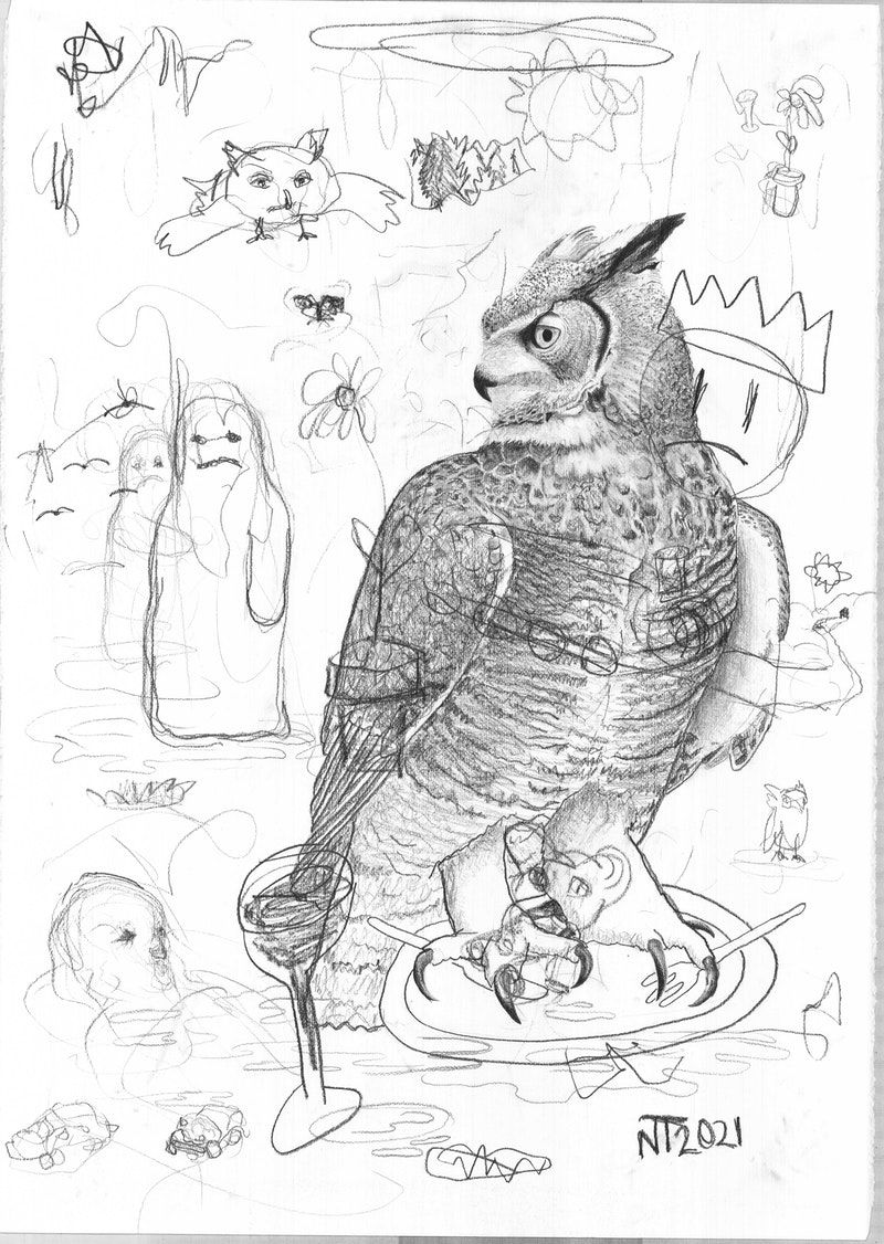 'Dinner is served for now, and maybe forever I (1/3)', Nikolai Torgersen, Pencil on paper, 100 x 70 cm