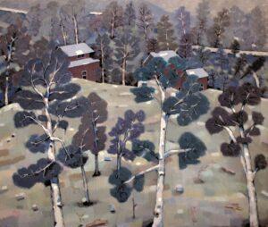 'Nagasawa Winter Farmhouse', Norman Mathieson, Watercolour and gouache on paper, 69 x 79 cm