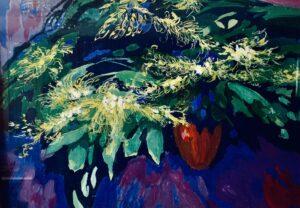 'Goldenrods in a vase', Olga Tesis, Gouache on canvas, 70 x 50 cm