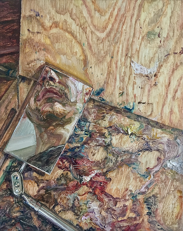 'The Painter at Work (Self-Portrait Fragment)', Owain Hunt, Oil on canvas, 25 x 20 cm