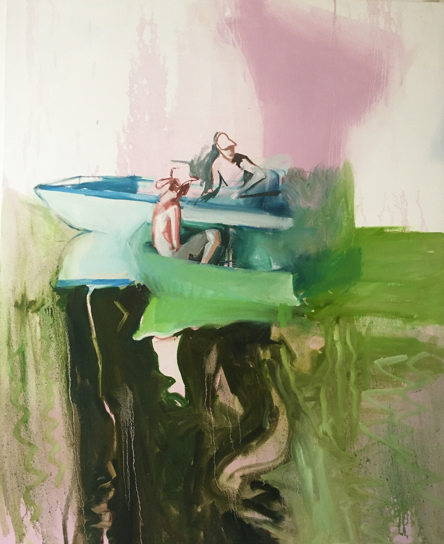 'Messing about on the River', Patricia Thornton, Oil on canvas, 100 x 80 cm