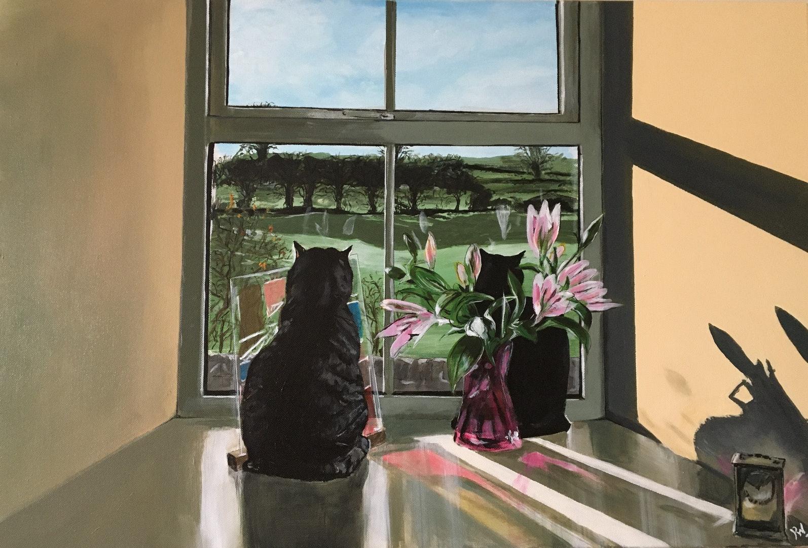 'Dougal and Em in Lockdown', Paulene Warnock, Acrylic on canvas, 50 x 76 cm