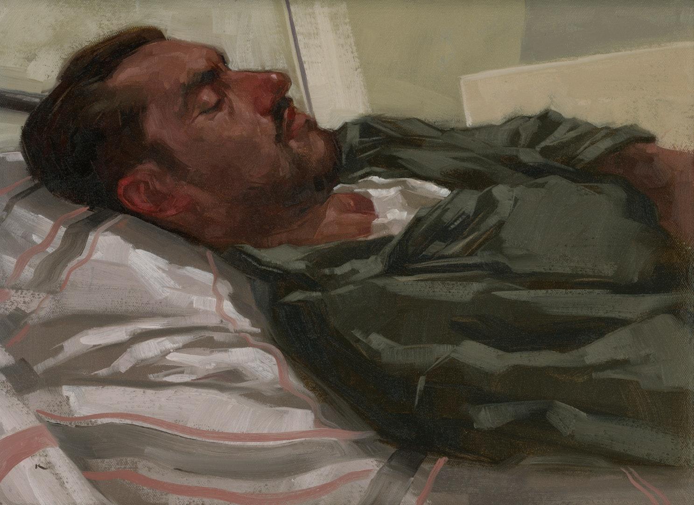 'Snooze', Preslav Kostov, Oil on canvas mounted to panel, 21 x 29.7 cm