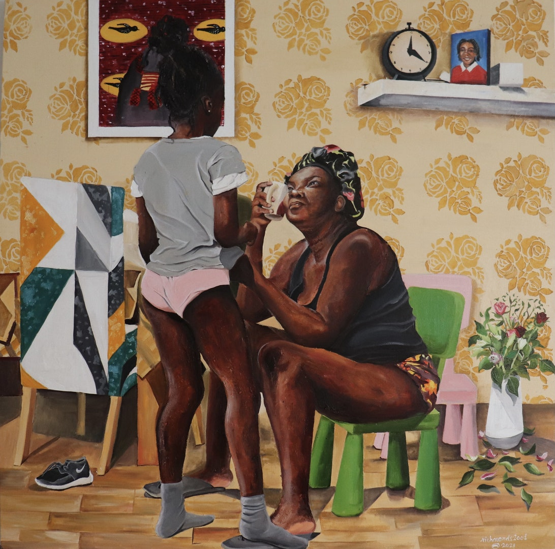 'Dear Mom', Richard Mensah, Oil on Cotton, 100 x 100 cm