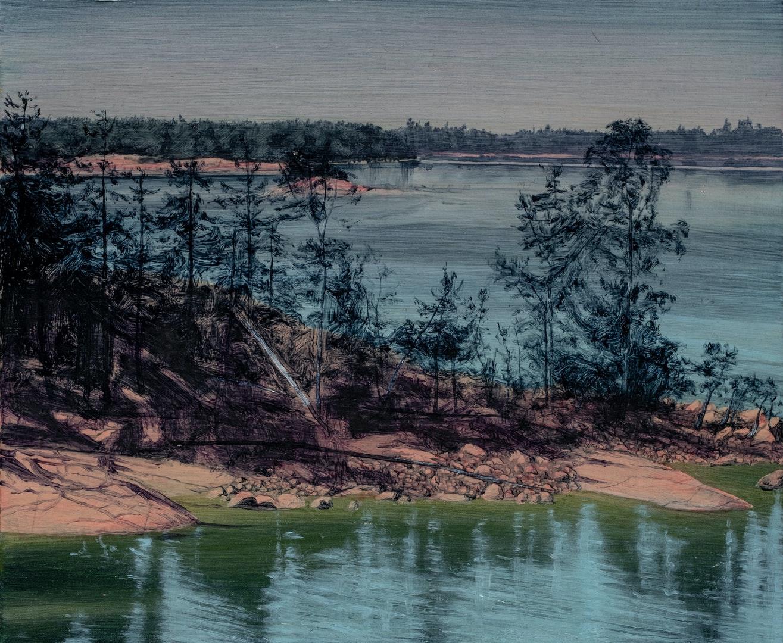 'Falling, Rising', Rachel McDonnell, Oil on linen, 25 x 30 cm