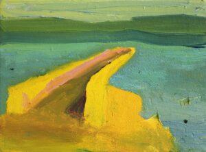 'Harbour At Dusk', Robbie O'Keeffe, Oil on canvas, 14.5 x 19.5 x 4.5 cm