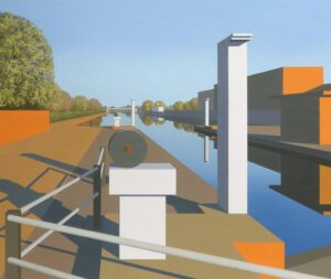 'Tottenham Lock', Robert Cunnew, Acrylic on conservation board, 55 x 65 cm