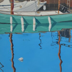 'Turquoise Lugger and White Fenders', Rosemary Oberlander, Acrylic on card, 29 x 29 cm