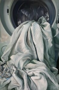 'Airing my dirty laundry', Ruth Swain, Oil on board, 89 x 59 cm