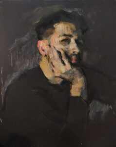 'Self portrait during the Isolation', Samir Rakhmanov, Pastel on black paper, 50 x 45 cm